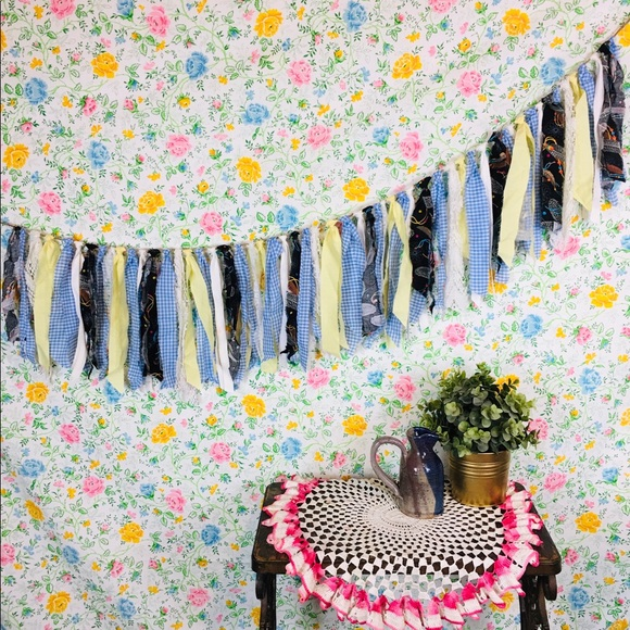 Handmade Fabric Strip Garland Banner Boho Decor